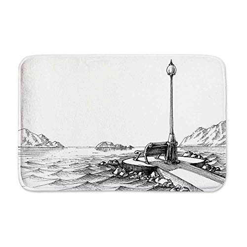 YOLIYANA Sketchy Anti Slip Rubber Back Doormat,Bench and Lantern in The Middle of Ocean Waves Mountains Rocks Artistic Monochrome Decorative for Living Room,23