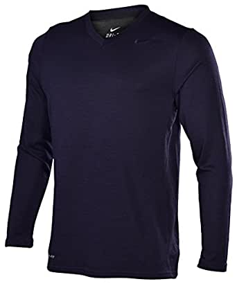 Nike Men's Dri-Fit Wool LS V-Neck T-Shirt-Dark Purple-Small