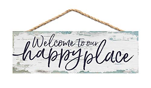 P. Graham Dunn Welcome Our Happy Place Nautical Blue 10 x 4 Pine Wood Hanging Décor String Sign ()