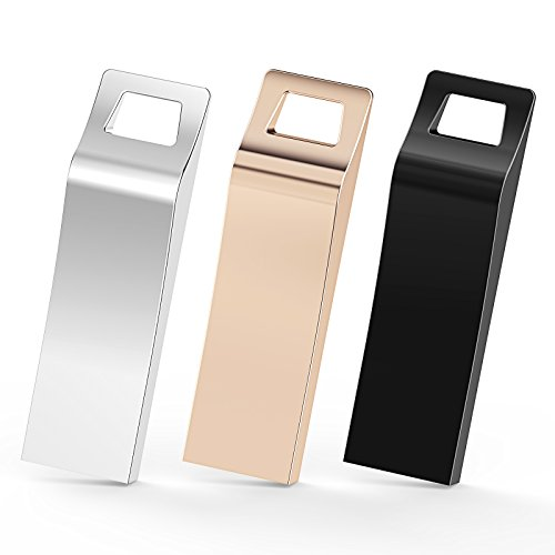 TOPESEL 3 Pack 32GB USB 2.0 Flash Drives Metal Memory Stick Waterproof Thumb Drive (3 Mixed Colors: Black, Gold, Silver) ()