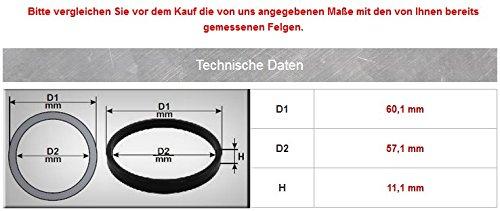 interno 57,1/mm 60,1/mm 4/X Anelli di centraggio diametro esterno