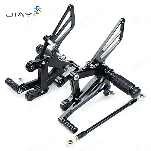 Frames & Fittings CNC Billet Adjustable Rearset Foot Pegs Pedals Rest Rear Set Racing for Kawasaki Ninja NJ ZX6R ZX 6R 636 ZX636 2003-2004 Black - CN