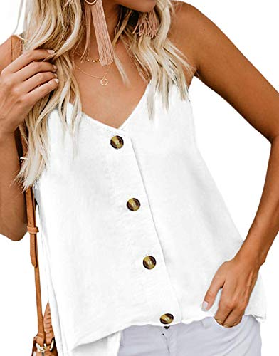 GOLDSTITCH Women's Button Down V Neck Strappy Tank Tops Loose Casual Sleeveless Shirts Blouses