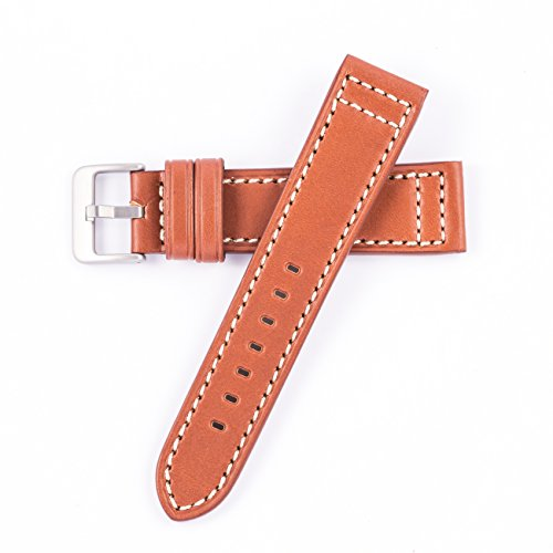 Hadley-Roma Genuine Saddle Leather Flat Watch Band Tan 22mm MS851