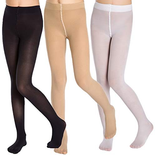 Girls Sheer Tights (Aaronano 3 Pairs School Girl's Footed Ballet Dance)