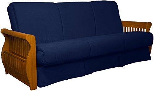 Laguna Perfect Sit & Sleep Pocketed Coil Inner Spring Pillow Top Sofa Sleeper Bed, Queen-size, Medium Oak Arm Finish, Microfiber Suede Dark Blue Upholstery - Oak Set Futon Frame