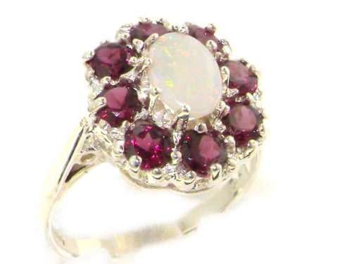 925 Sterling Silver Real Genuine Opal and Garnet Womens Cluster Ring - Size 11