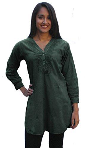 - Ayurvastram BIBAA Pure Cotton Shirt Tunic Top Kurti Blouse; Military Green 12