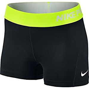 Nike Women's Pro Cool 3-Inch Training Shorts (Black/Volt/White/Medium)
