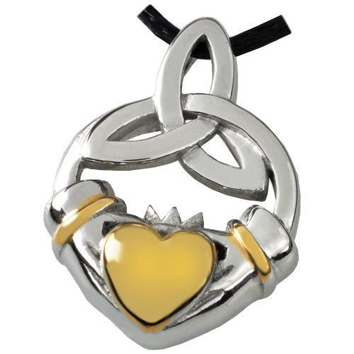 Memorial Gallery SSP042C Premium Stainless Steel Claddagh Trinity Knot Cremation Pet Jewelry