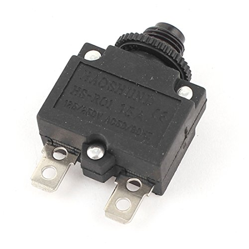 Uxcell a14112200ux0210 AC 125/250V 15A HS-R01 2 Pin Circuit Breaker Overload Protector, Black