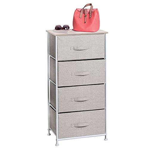 MetroDecor mDesign Fabric 4-Drawer Storage Organizer Unit for Bedroom, Nursery, Office - Linen