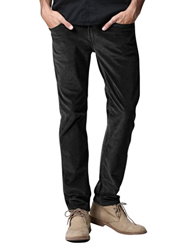 Match Men's Slim-Tapered Flat-Front Casual Corduory Pants (36W x 31L, 8084 Black)