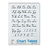 Chart Tablets w/Cursive Cover, Ruled, 24 x 32, White, 25 Sheets, Sold as 1 Each