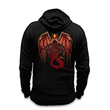 """Red Dragon Hoodie (with Backprint) - Jet Black XX Large (52"""" Chest)"""