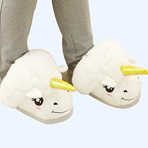Einhorn Damen Plüsch Pantoffeln weiß mit Glitzer Horn Unicorn Slippers für Erwachsene