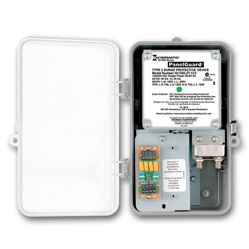 Intermatic IG1300-2T-1C3 120/240 VAC Single Phase Type 2 Surge Protection with Two Telephone and One Coax Lines by Intermatic