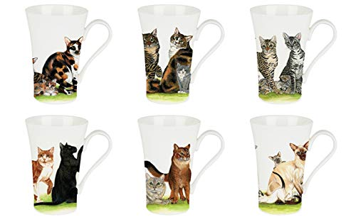Roy Kirkham Mugs (Set of 6) - Cat Collection, Emily Shape
