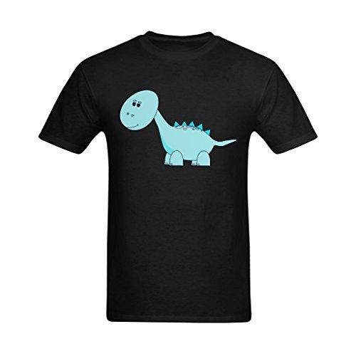 Fashion-In Men's Blue Cute Dinosaur Big Head Art Design T-Shirt - Funny Shirts US Size XS