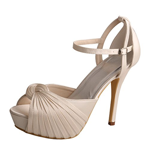 Bridemaid Strap Wedopus Ivory Heels Sandal Women's Shoes MW311 Platform Satin Ankle Wedding 88IwUfqR