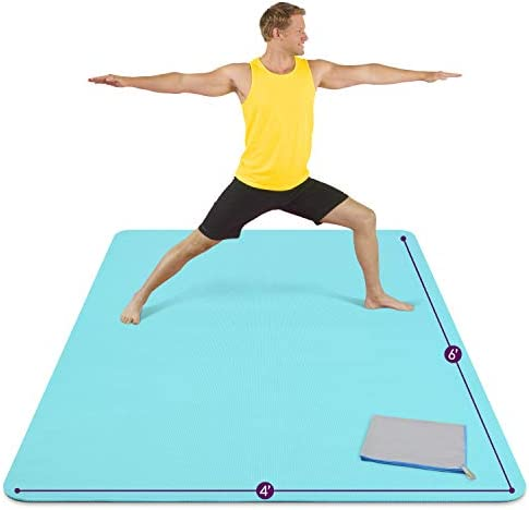 Large Yoga Mat 6'x4'x8mm Extra Thick, Durable, Eco-Friendly, Non-Slip & Odorless Barefoot Exercise and Premium Fitness Home Gym Flooring Mat by means of ActiveGear