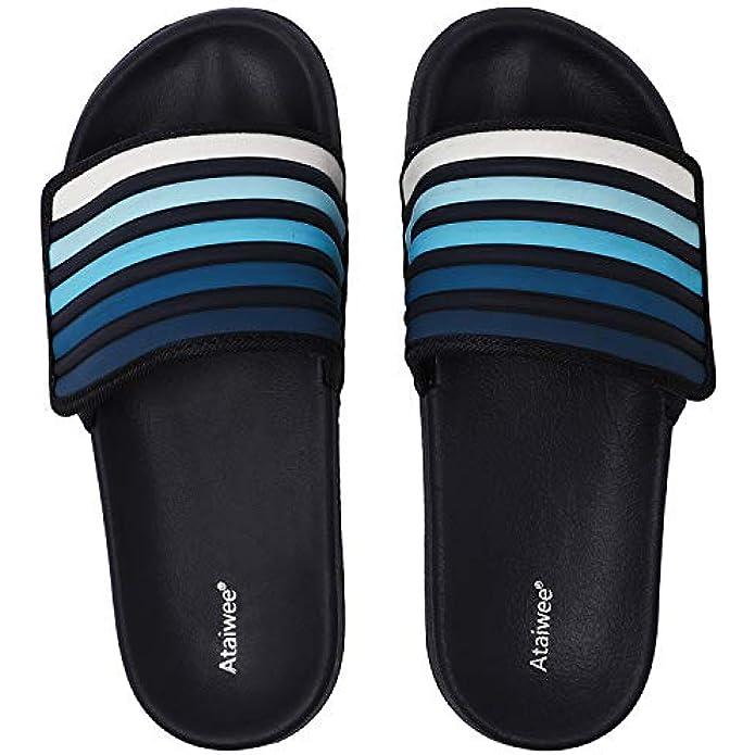Ataiwee Kid's Poolslide Sandals, Slip On Girl Boy Touch Fastening Strip Sliders for Younger Older Children.