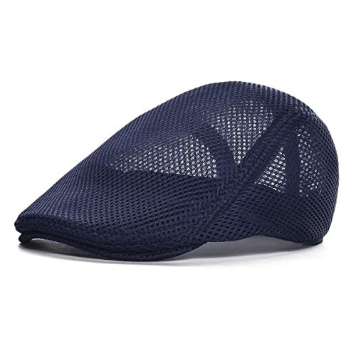 VOBOOM Men Breathable mesh Summer hat Newsboy Beret Ivy Cap Cabbie Flat Cap (Style3- Navy)