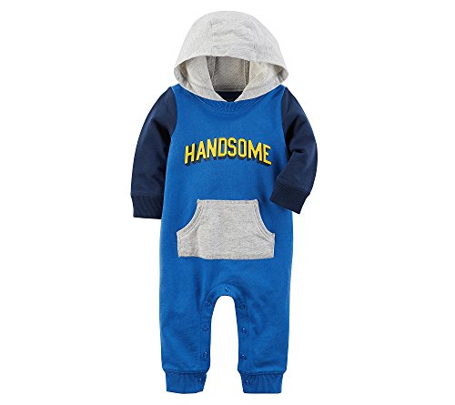 Carter's Baby Boys' Long Sleeve Handsome Hooded Jumpsuit 6 Months -