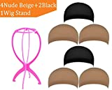 #6: ZUER Wig Caps(6 Pack/Black & Neutral Nude Beige) with Portable Wig Stand(Color Random)