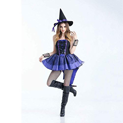 (Fashion-Cos1 Sexy Gothic Purple Evil Queen Vampire Costume Adult Women Halloween Witch Magician Cosplay Fancy Dress (Size :)