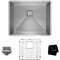 Kraus KHU23 Pax Zero-Radius 22 1/2  16 Gauge Handmade Undermount Single Bowl Stainless Steel Kitchen Sink