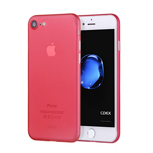 doupi UltraSlim Case iPhone 8/7 (4.7 inch) Fine Matte Feather Light Skin Protective Cover - Red (Red Clear Phone Skin Case)