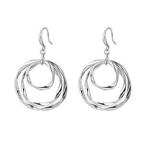 - MUZHE Three-Tone Gold Triple Hoop Earrings Delicate Circle Dangle Earring for Women (Silver)