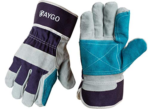 Leather Work Gloves-KAYGO KG31LG,Heavy Duty Glove with Safety Cuff and Wing Thumb,Fits Both Men & Women,Ideal for Mechanics, Welding, Gardening or Landscaping (1) ()
