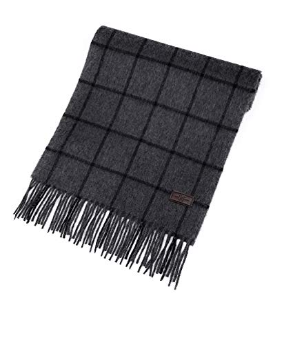 Men's Cashmere Scarf - Grey with Black Windowpane, 100% Italian Cashmere, 72 inches x 12 inches, by Hickey Freeman