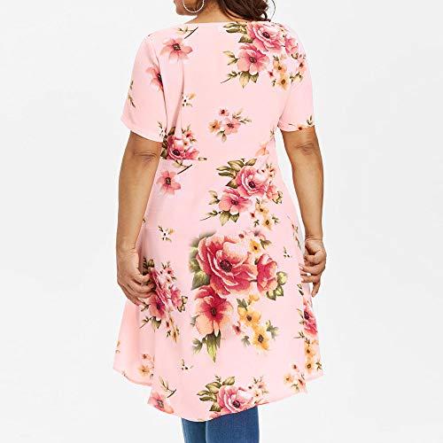 TnaIolral HOT! Women T-Shirt Floral Printing Long Short Sleeve Tops Blouse Pink by TnaIolral (Image #4)