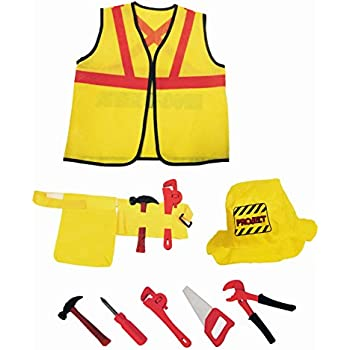 Construction Worker Kids Dress Up Costume Role Play Set With Tools 8 Pcs