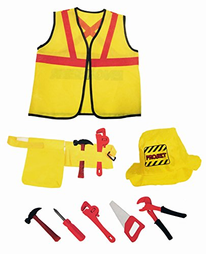 Construction Costume Kids (Construction Worker Kids Dress-Up Costume Role Play Set with Tools (8 Pcs))