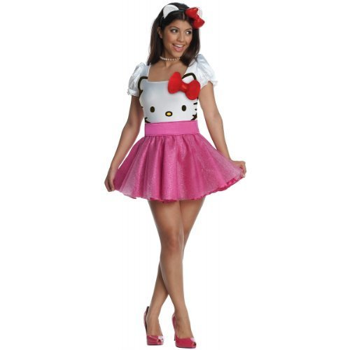 [Secret Wishes Womens Hello Kitty Costume, Pink, Small] (Hello Kitty Costume For Adults)