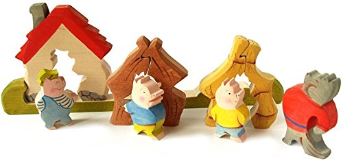 3D Jigsaw Puzzle The Three Little Pigs Fairy Tale Waldorf Toy Handmade Stackable Puzzels Wooden Learning Toy