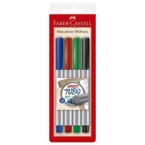 Marcador Permanente, Faber-Castell, MULTI/ES2ZF, 1.0mm, 4 Unidades, Azul/Preto/Vermelho/Verde