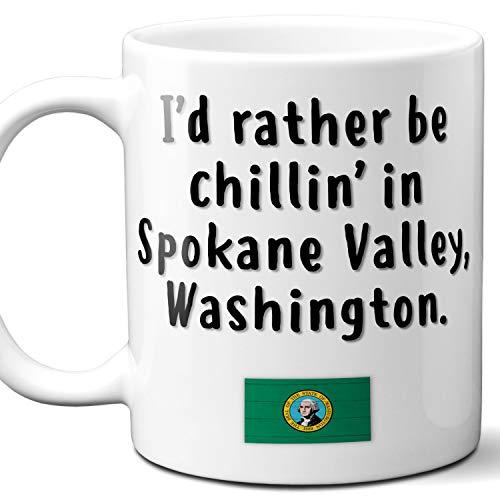 "Spokane Valley Washington Coffee Mug Souvenir Gift.""Chillin In"" With WA Flag. 11 Ounces."