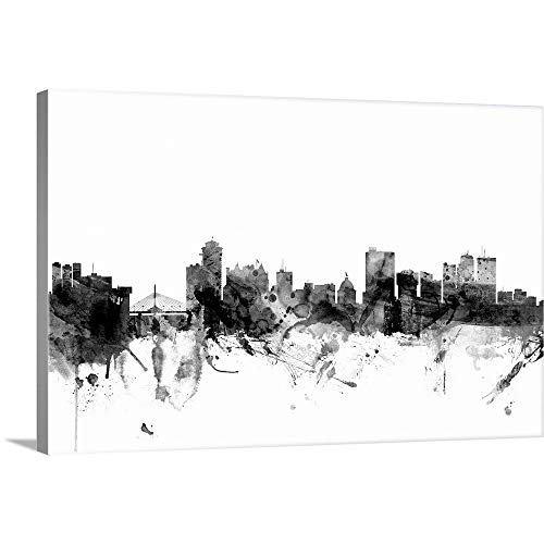 Gallery-Wrapped Canvas Entitled Winnipeg Canada Skyline, Black and White by Michael Tompsett 24