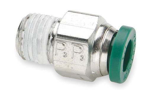 Parker Hannifin W68PLP-4-1 Prestolok PLP Nickel Plated Brass Male Connector Push-to-Connect Fitting, 1/4