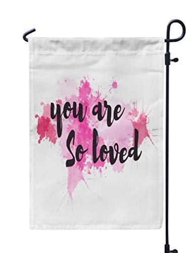 Soopat Watercolor Love Seasonal Flag, You Poster Art Beautiful Weatherproof Double Stitched Decorative Flags for Garden Yard 12 L x 18 W Welcome Garden Flag