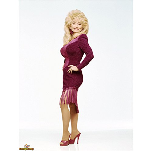 Dolly Parton (8 inch by 10 inch) PHOTOGRAPH Recording Artist 9 to 5 Steel Magnolias The Best Little Whorehouse in Texas Full Body Fringed Maroon Dress kn