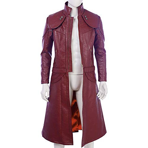 COMShow Devil May Cry 5 Dante Cosplay Costume DMC5 Red Leather Jacket Halloween Costumes