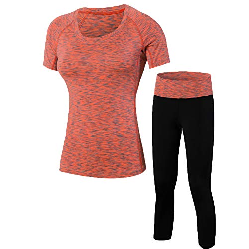 Shimmery Women's 2-Piece Compression Tight Activewear Short Sleeve T-Shirt Top + Capri Legging Workout Sets Orange - 2 Thermal Piece Sweatpants