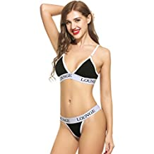 Ekouaer Womens Sexy Lace & Cotton Everyday Bras and Panty Set