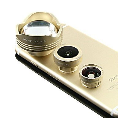 Ultra HD Professional Phone Lens Kit 4 in 1 180 Fisheye Lens + 0.63x Wide Angle Lens + 15x Macro Lens + 3x Telephoto with Clips for Iphone 5S SE 6 6S Plus Samsung S6 S7 Edge (Zoom Rival S7)